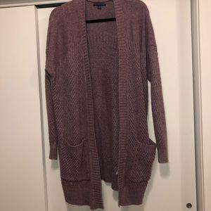 Purple Long Knit Cardigan